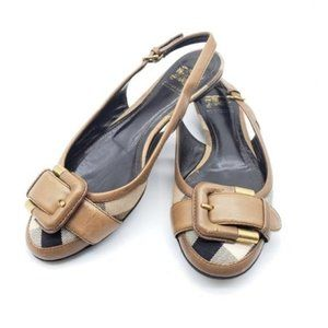 Authentic Burberry Flat Leather Brown Sandal